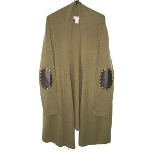 Soft Surroundings Sweater Coat Stud Faux Leather